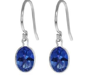 2 Carat Blue Sapphire Dangle Earrings .925 Sterling Silver Rhodium Finish