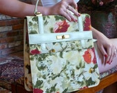1960s Kelly Bag Hand Painted  Linen Floral Structured Handbag Macy's Tote OOAK
