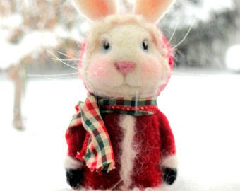 SANTA BUNNY - Winter Coat Bunny - Christmas - Needle Felted Rabbit - ***Made To Order*** (Various coat colors available)