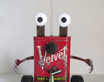 VELVET- Found object robot sculpture~assemblage