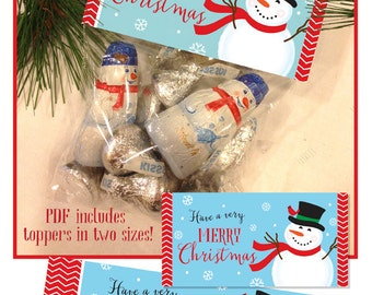 Christmas Snowman Bag Toppers, Printable, 2 Sizes, Instant Download
