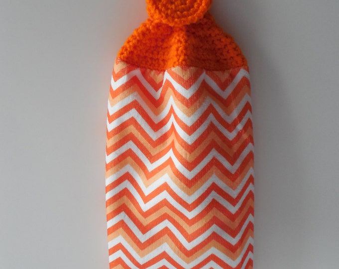 Orange Crochet Top - Kitchen Towel - Orange and White Zig Zag - Handmade - Crochet - Made to Order