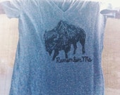 Buffalo Screenprinted T Shirt with Original Illustration, Remember Me, Soft Shirt, Drawing, Design, Animal, Bison