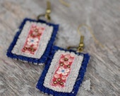 Eco friendly bohemian textile earrings. Dark blue woolen and red cotton  textile earrings with antique brass beads.