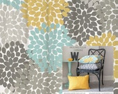 Shower Curtain in Yellow Blue Gray Floral Standard and Extra Long Lengths 70, 74, 78, 84, 88 Let's make one in your colors!