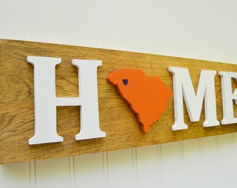 "Clemson Tigers ""State Heart"" Home Sign - Handcrafted wood with official team colors"