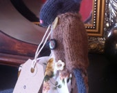 """Hand knitted Mouse. """"Ella""""  Reminiscent of Bagpuss Mice."""