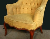 Beautiful Victorian Yellow/Dijon Mustard Color Tufted Arm Chair