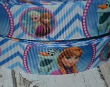 ANNA & OLAF Frozen Grosgrain Ribbon...By the Yard...1 Inch...Perfect for hair bows, paci clips, key fobs, clothing, and sewing projects!