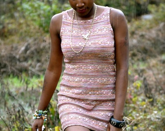 Pink and Natural Tone Textured Dress