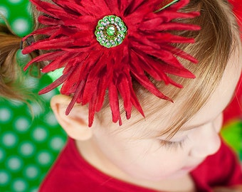 Christmas Headband.Christmas Flower Headband.Green Headband.Red Headband.Holiday Headband.Christmas Baby Headband.Flower Headband.Christmas