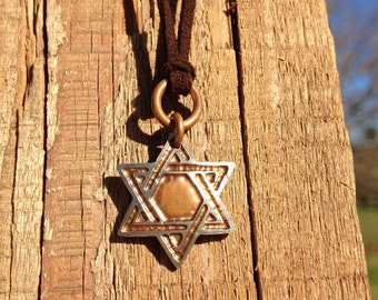 Star of David Necklace. Etched Coin Pendant made from a Quarter.