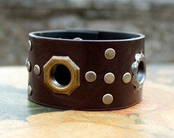 Leather Cuff, Metal Rivets & Grommets, Rocker Style, Unisex Cuff, Western Style, Brown Vintage Leather, Cowgirl Jewelry