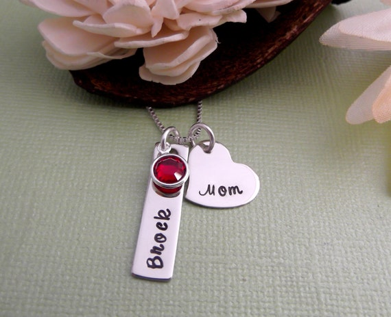 MOM Necklace with Child Name Tag and Birthstone- Mommy Necklace-Hand Stamped Necklace-Personalized Mom Necklace- Mother  Necklace
