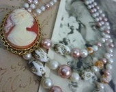 CHAMPAGNE LADY retro vintage  cameo assemblage Anthropologie inspired pin brooch necklace