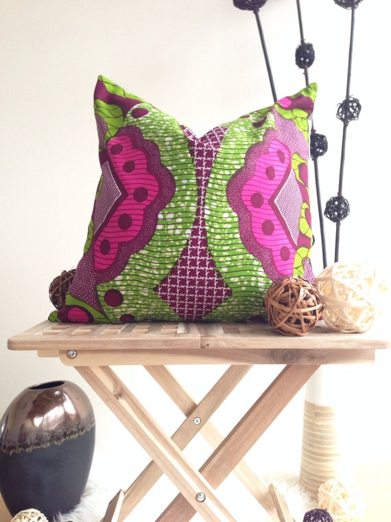 "20""  African Print Pillow Cover, Scatter Pillow, Couch Pillow, Pink Pillow Cover, Bedroom Pillow, Accent Pillow Cover, Home Decor, Cotton"