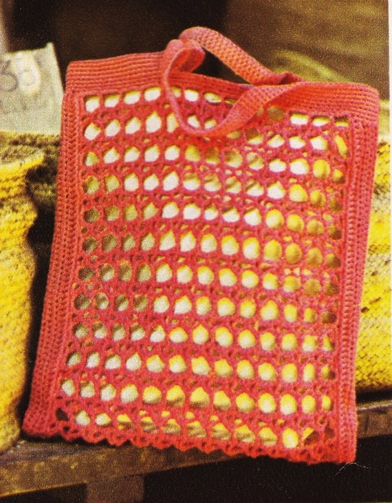 Crochet Mesh Bag Pattern : Bag Pattern - Open Worked Purse - PDF Instant Download - Mesh Purse ...