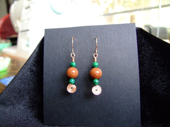 handmade copper goldstone and malachite dangle earrings