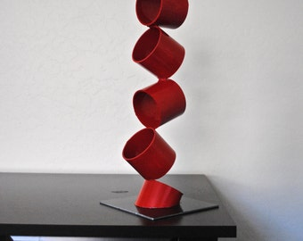 Metal Abstract Art Sculpture Modern Retro Simple Table Decor Contemporary Mid Century by Petrykowski Artworks