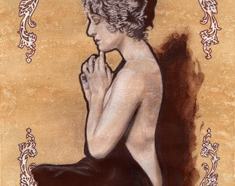 Fine art original Art Nouveau painting drawing mixed media - Learner by Tuulia Tamminen