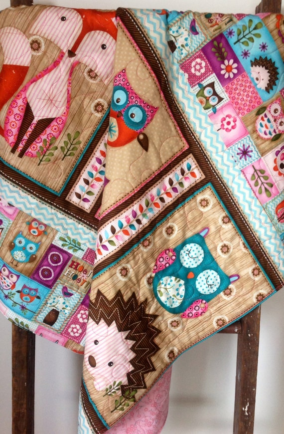 Baby Quilt Girl Woodland Critters Fox Owl Animals By Coolspool