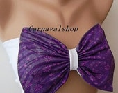 PADDED Bow Bandeau -Swimwear-Swimsuit- Bikinis Top - Spandex Bandeau -sun bathing-black-Purple-floral and silver print-Seamless Back