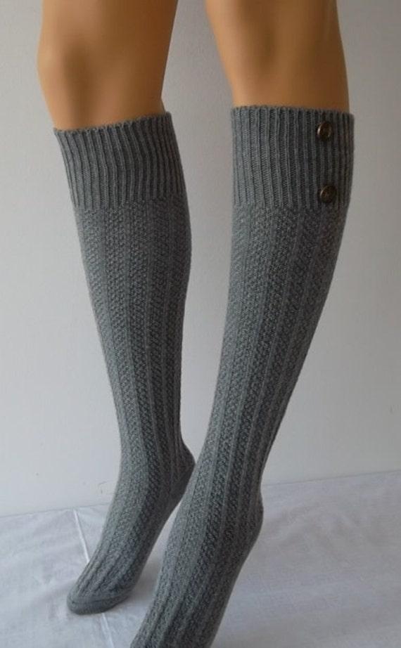 grey high knee socks boot socks button the knee socks