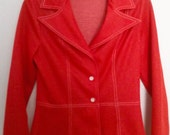 Vintage 1960s Womens Mod Jacket Red with White Stitching Size Small