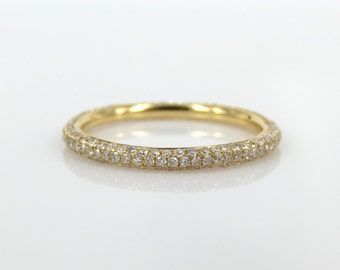 2mm Three Row Micro Pave Diamond  Eternity Band in 18k Yellow Gold - Stack-able