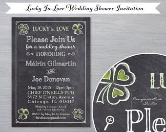 Chalkboard Wedding Shower Invitation - Lucky In Love, Irish, Shamrock - Customizable, Original Designs