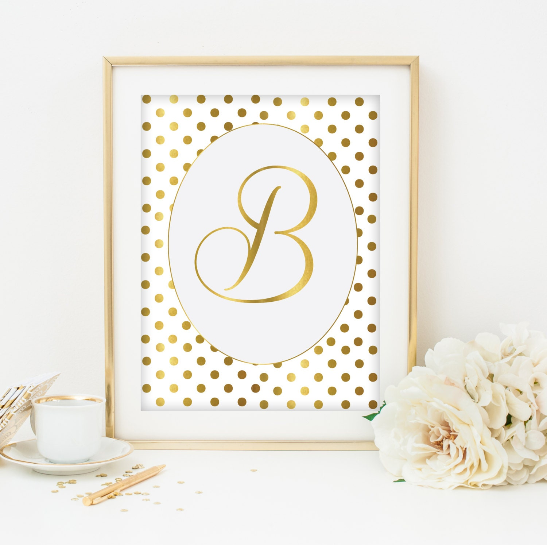 Etsy Gold Wall Decor : Gold monogram printable print wall by