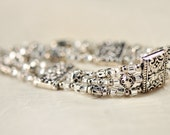 Multi-Strand Pewter and Clear Silver-lined Czech Glass Seed Bead Bracelet