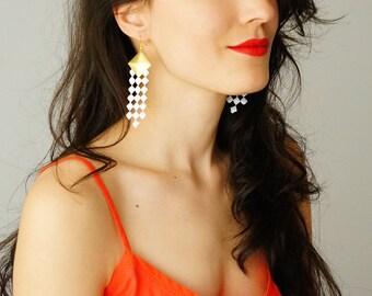 Dangle Earrings Lace Earrings Statement Earrings White Earrings Gold Earrings Geometric Earrings Bridal Earrings For Her / CIMETTO