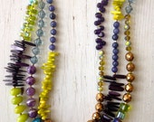 3 Strand Color Block Necklace in greens, purples, blues, and bronze by ladeDAH! jewelry