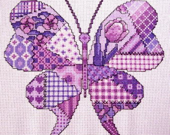 Purple Patchwork Butterfly Cross stitch Pattern, Instant PDF download.