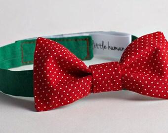 Boy's Bow Tie - Red with White Polka Dots & Green Neckband - Boy's Wedding Bow Tie, Ringbearer Bow Tie, Baby Bow Birthday Bow Tie