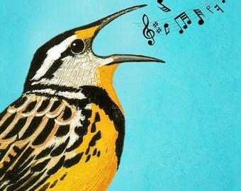 Animal painting portrait painting  Giclee Print Acrylic Painting Illustration Print wall art wall decor Wall Hanging: bird singing 2