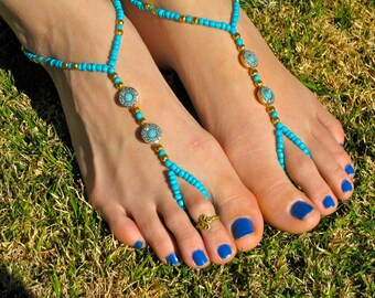 Turquoise and Gold Metal Round Barefoot Sandals, Slave Anklet, foot jewelry, ankle bracelet with toe ring
