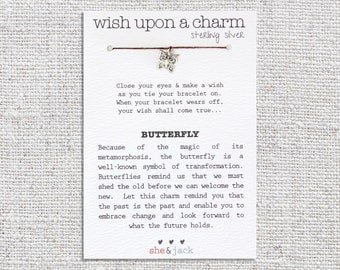 BUTTERFLY - Wish Bracelet - Sterling Silver Charm - Waxed Irish Linen - Choose Your Own Color