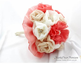 READY TO SHIP Large Wedding Brooch Bouquet Bridal Custom Beaded Bouquet Jewelled Flower Bridesmaids Bouquet in Ivory, Champagne, Coral