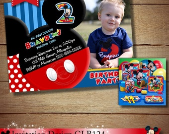 HUGE SELECTION Mickey Mouse Birthday  Invitation, Blue Red Yellow Clubhouse Mickey Mouse Printable Invitation, Mickey Mouse Photo Invitation