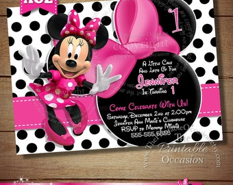 HUGE SELECTION Black Polka Dot Minnie Mouse Birthday Invitation, Pink Black Minnie Mouse Invitation, Polka Dot Minnie Invitation, DIY Minnie