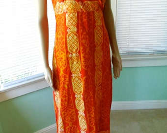 Vintage 60s HAWAIIAN DRESS/60s Tiki Dress/60s Batik Maxi Dress/Batik Hippie Dress/Kaftan Caftan/Bohemian Dress/60s Aloha Dress/Size Small