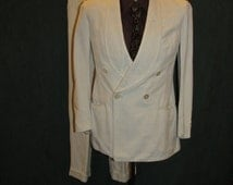 1930's Palm Beach Vintage Cream White Double Breasted Suit Tailored by Goodall From the Genuine Cloth 37 1920's 1940's  gatsby  speakeasy