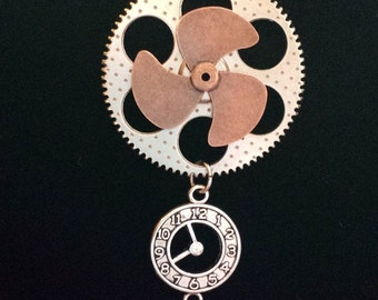 Steampunk Propeller, Gear and Clock Necklace