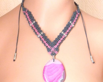 Macrame necklace fine stone - banded agate - ref C. 0172