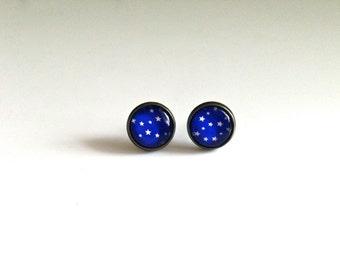 12mm Blue Starry Night Earrings, Blue Sky Stud Earrings, Starry Night Stud Earrings, Starry Earrings, Blue Sky Jewelry, Blue Sky Earrings