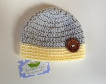 Baby Hat - Crocheted Baby Hat - Photo Prop - Knit Hat - Newborn Hat - Gray/Yellow Hat - Knit Baby Hat