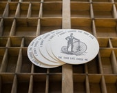 """10 Coasters with """"I Didn't Choose the Thug Life, the Thug Life Chose Me"""", Letterpressed in Black Ink on a 4"""" Round White Coaster"""