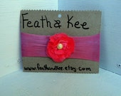 Hand Dyed Delicate Pink Flower With Vintage Button Pink Headband One Of A Kind - FeathandKee